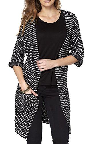 Mujer Talle Reino Unido 8–�?0Dogtooth negro blanco cárdigan a cuadros largo negro/blanco