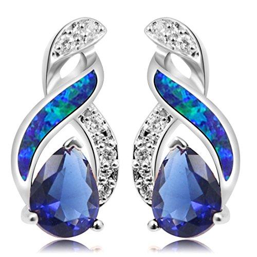 Sterling Silver Stud Earring Yellow Gold Blue Opal Mystic Topaz Sapphire Women Jewelry (Silver Blue) ()