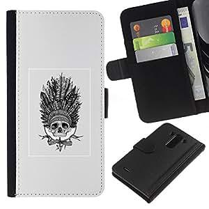 YiPhone /// Tirón de la caja Cartera de cuero con ranuras para tarjetas - Native American Dream Catcher cráneo - LG G3