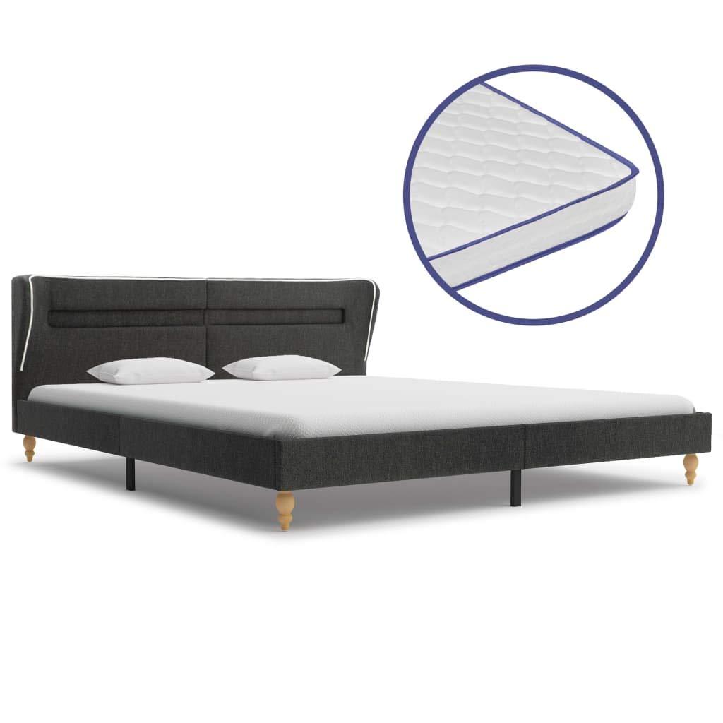 vidaXL Bett mit LED Memory-Schaum-Matratze Polsterbett Doppelbett Schlafzimmerbett Bettgestell Bettrahmen Lattenrost Dunkelgrau Sackleinen 180x200cm