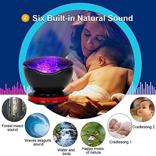 HYDDG Projecteur de veilleuse Ocean Wave, Lampe de Projection télécommandée Rotation Northern Light Projector Mood Light, 12 LED 7 Couleurs améliorées pour pépinière de bébé