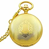Antique Style Luxury GoldenTone Flower Case Roman Number Black Dial Hand Wind Mechanical Pocket Watch Mens Cowboy Chain