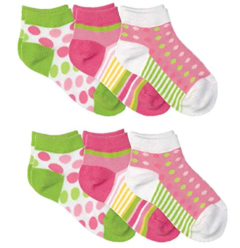 Country Kids Girls' Big Show Sneaker Liner Socks Fun Dots Stripes, Pack of 6, Pink/Green, 7-10 years (shoe size 12-6.5) ()