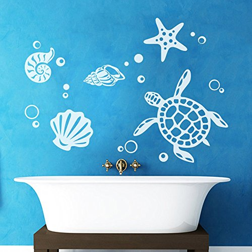 - MairGwall Sea Turtle Decal Ocean Theme Vinyl Shells Decor Starfish Art Mural ( 42
