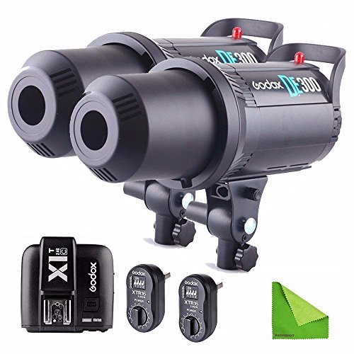 Godox DE-300 DE300 110V 300W Compact Flash Strobe Studio Lighting Head Bowens Mount For Canon + XTR16 Wireless Flash Trigger Support HSS With EACHSHOT Cleaning Cloth by EACHSHOT