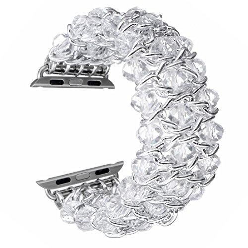 Fashion Handmade Elastic Stretch Crystal Beaded Bracelet Metal Chain Women Girls Strap Wristband for Apple Watch Series 3 2 1 (White,38 mm)