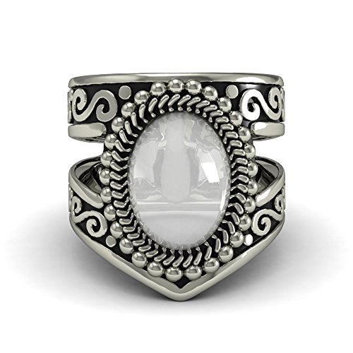 Ladies Rings Indian American (EVBEA Navajo Jewelry for Women Vintage Native American Large Statement White Moonstone Ring Mothers Day Gifts(9))