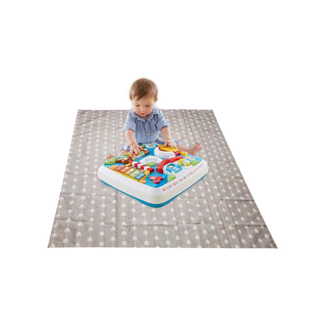 Baby Washable Spill Mat Multipurpose Splat Mat, Waterproof, Extra Large Splat Mat for Under High Chair, Craft Table, High Chair Floor Mat, Splash Mat, Floor Protector 50''50'' (Brown) by OUDI LINE