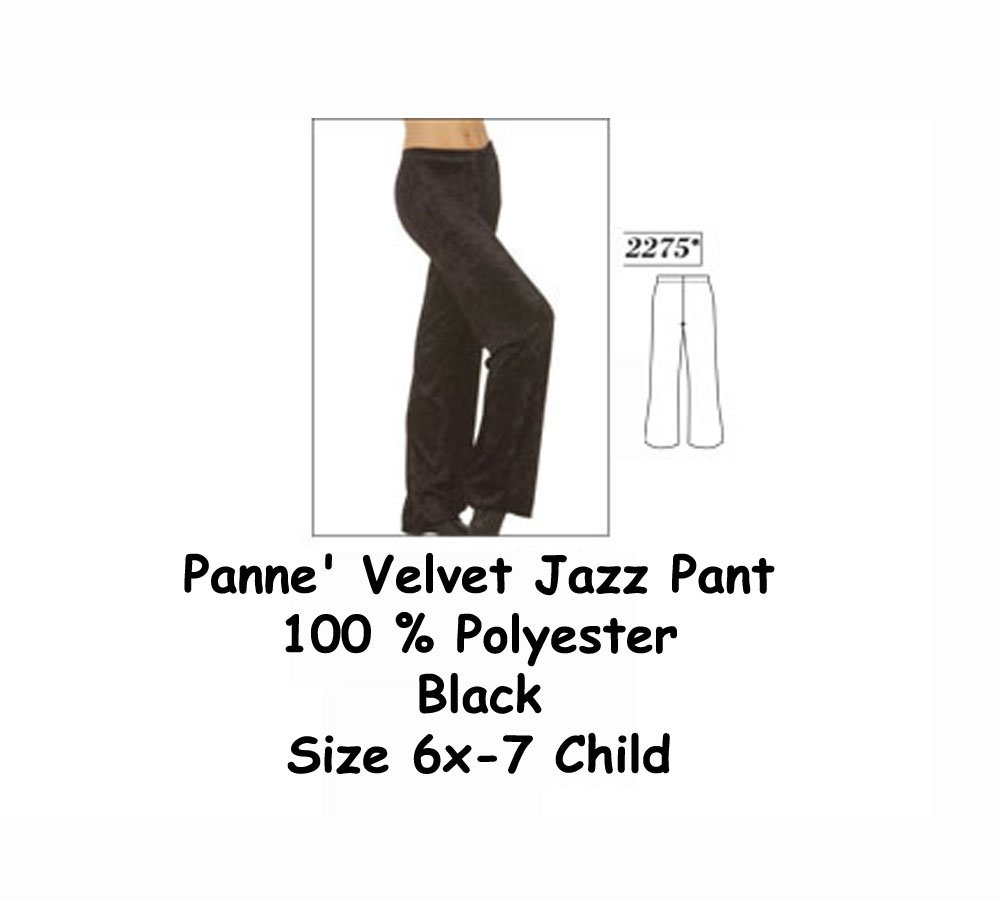 Body Wrappers 2275 Black Velvet Pants 100% Polyester - Size 6X-7 Child by Body Wrappers