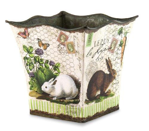 Michel Design Works Decorative Tin Bucket/Planter, Small, Bunnies