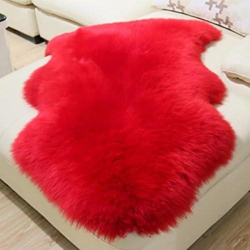 Genuine Sheepskin Rug Red Single Pelt Natural Fur – Sheepskin Rug Pad for Bedroom Living Room Single 2ft x 3ft, Red