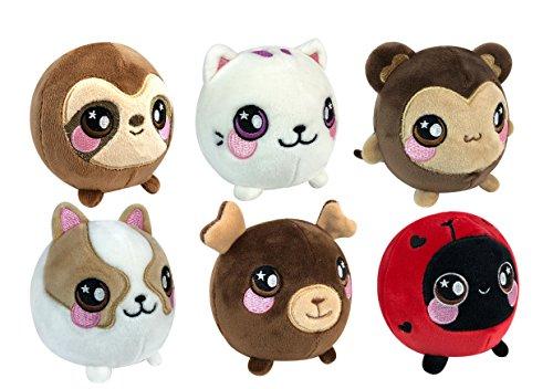 Ladybug Bear - Squeezamals 6 Pack #2 (Boris Bear, Lulu Ladybug, Dax Dog, Mila Monkey, Callie Cat, and Simon Sloth)
