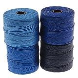 BeadSmith Super-Lon Cord - Blue Tones Mix - Four 77 Yard Spools / Size 18 Cord