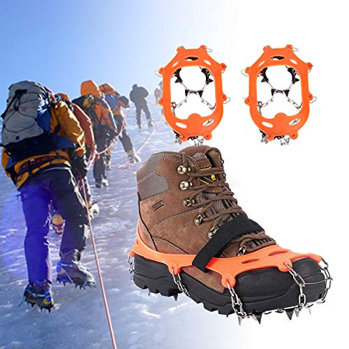 - Walk Traction Cleats Anti Slip Ice Cleats Shoe Boot Grips Traction Crampon Snow Spikes Grips Cleats Ice & Snow Grips Safe Protect Walking,Jogging Hiking on Snow Ice (M)