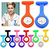 Krankenschwesteruhr Schwesternuhr Pflegeruhr Silikon weiß rosa pink orange rot gelb hellblau blau dunkelblau grün lila schwarz (hellblau)