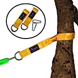 Outdoor Tree Swing Hanger Straps - Two 5ft Yellow Straps and Carabiner Hooks Heavy Duty - Easy Swing Hanging kit Installation