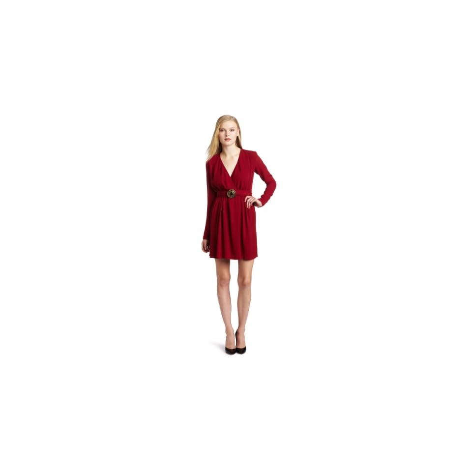 WHAT GOES AROUND COMES AROUND Womens Eva Long Sleeve Silk Dress, Biking Red, X Small