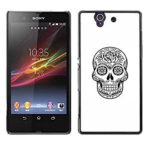 LECELL--Funda protectora / Cubierta / Piel For Sony Xperia Z L36H C6602 C6603 C6606 C6616 -- Death Skull Black White Ink Metal --