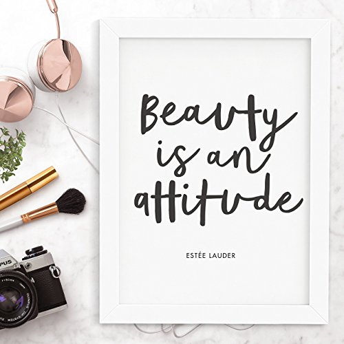 Beauty is an Attitude Estee Lauder quote typography print Wall Decor Motivational Print Inspirational Poster Home Decor - Estee Lauder Ideal Matte