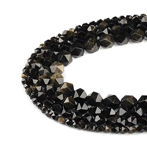 38pcs Gold Obsidian Beads for Necklace Bracelet Loose Beads 10mm Faceted Stone Beads for Jewelry Project