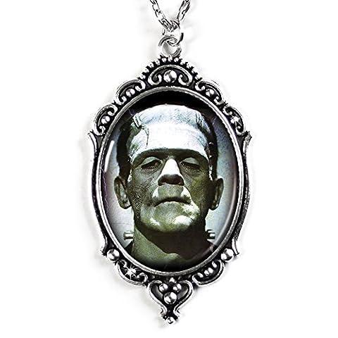 Frankenstein Cameo Necklace in Silver, Domed Glass Tile (Frankenstein Cabochon)
