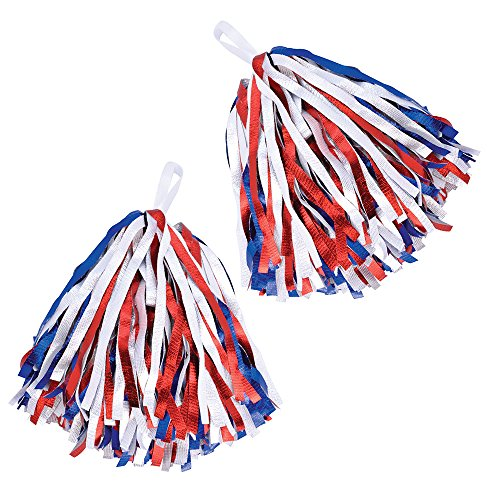 Bristol Novelty Red, White & Blue Cheerleader's Pom Poms ()