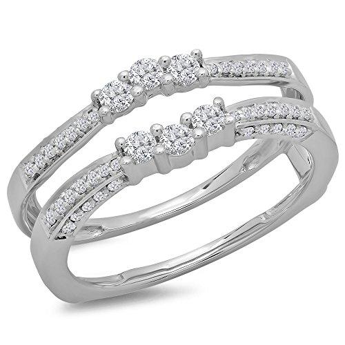 Dazzlingrock Collection 0.50 Carat (ctw) 14K Round Cut Diamond Wedding Enhancer Guard Double Ring 1/2 CT, White Gold, Size 6
