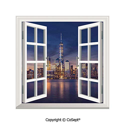 (SCOXIXI Open Window Wall Mural,New York City Manhattan After Sunset View Picture with Skyline Reflection on River,for Living Room(25.86x22.63 inch))