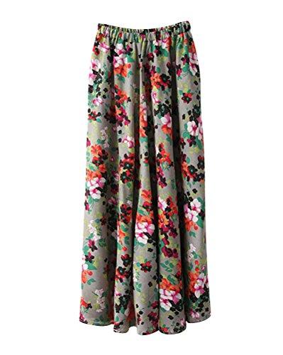 A Maxi Jupe Boho Style Lin Art Floral Longue Jupe Taille Plage 11 Femme Line t Swing lastique Taille Couleur Imprim Grande Littrature Et Voyager Longue wBxnaq7