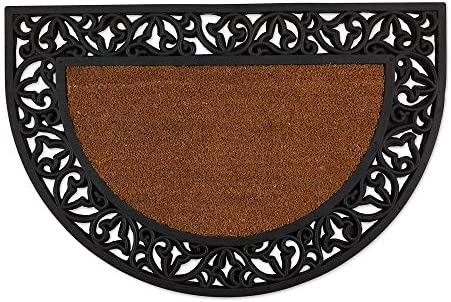 DII Heavy Duty Rubber Welcome Doormat Outdoor, Easy Clean All Weather Floormat, 24×36, Leaves Half Round
