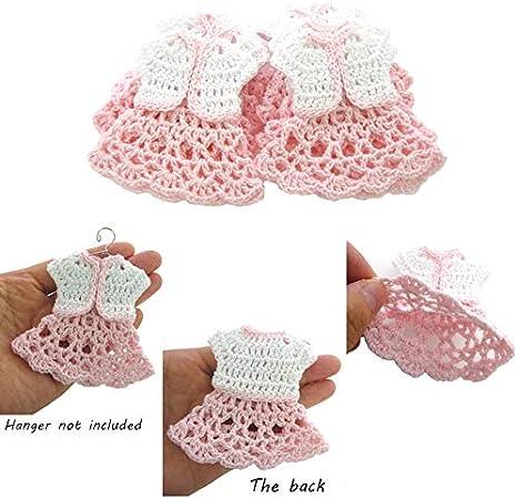 Tutto Uncinetto Bomboniere.Cushy 12 Mini Abito All Uncinetto Bianco Per Baby Shower