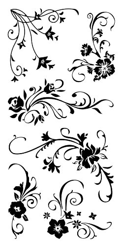 Inkadinkado Floral Flourish Clear Stamp Set for Arts and Crafts, 6pc