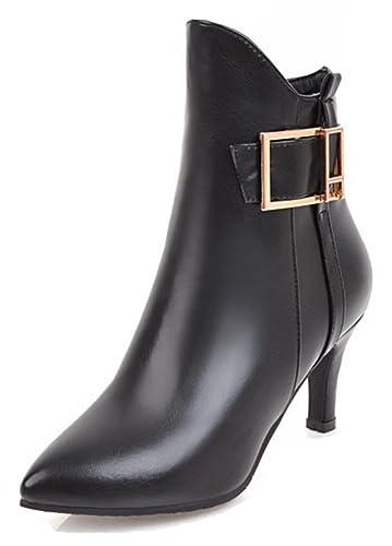 d0ec06b877e8c Aisun Women's Fashion Dressy Buckle Strap Inside Zip up Pointed Toe Ankle  Boots Stiletto Kitten Heel