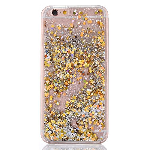Urberry Iphone 7 Case,Gold Running Glitter Cover, Sparkle Love Heart, Creative Design Flowing Liquid Floating Luxury Bling Glitter Sparkle Hard Case for 4.7 inch iPhone 7 with a Screen Protector 60%OFF