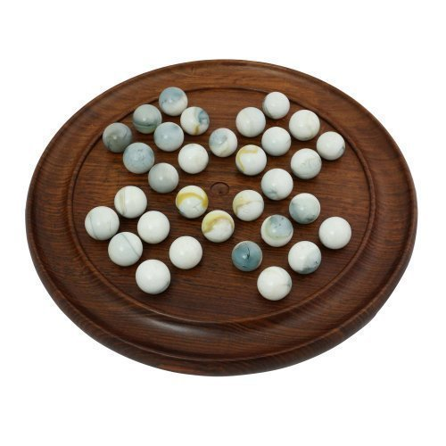 Indian Wooden Solitaire Games Marble Board Game Set 9 Inches - Unique Travel Gifts For Kids, Adults