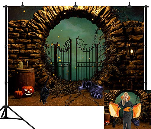 DePhoto 7X5FT(210x150CM) Halloween Pumpkin Devil Black Cat Backdrop Happy Halloween Seamless Vinyl Photography Photo Background Studio Prop PGT431A -