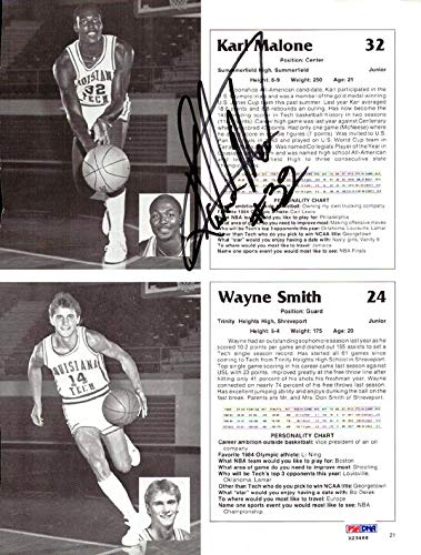 Karl Malone Autographed Magazine Page Photo Louisiana Tech Bulldogs #X23466 PSA/DNA Certified Autographed College Magazines