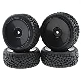 Rowiz 4PCS 1:10 RC Tires 12mm Hub Wheel Rims Concentric for 1/10 Scale Off-Road Black