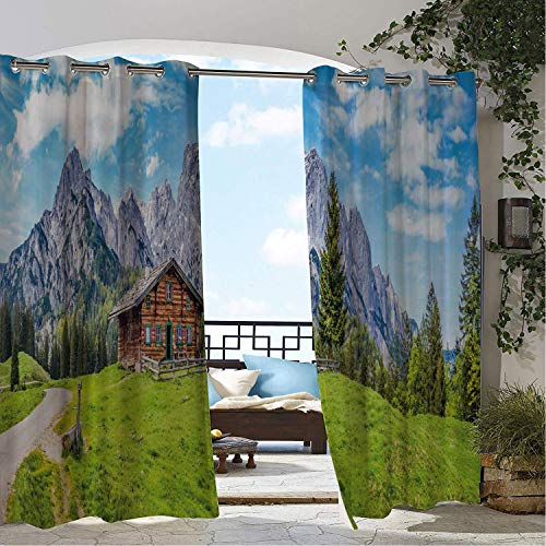 Linhomedecor Gazebo Waterproof Curtains Farmhouse Panoramic View of Scenic Landscape in The Alps Traditional Mountain Chalet Multicolor Porch Grommet Bathroom Curtain 108 by 84 inch ()