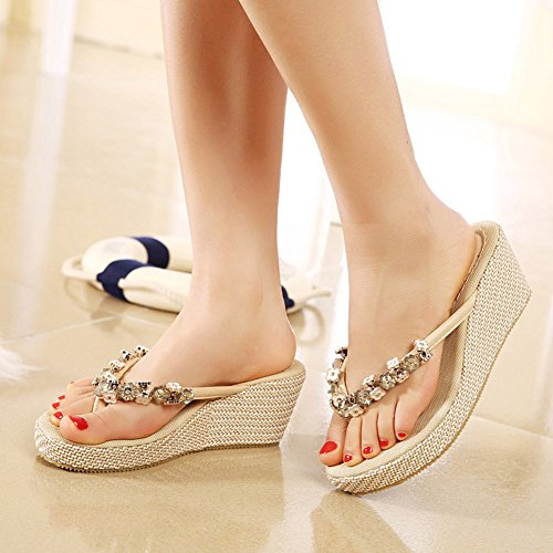 Floral CHFSO Beaded New Slippers Apricot Womens Wedges Platforms Sandals UnRwxqfT