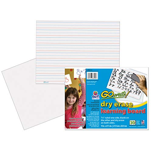 GoWrite! PACLB8512 Dry Erase Learning Sheets, White, 3/4
