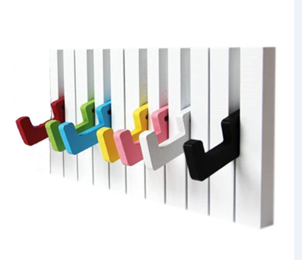 7 Hook Piano keys wall mounted Coat hook hanger wall decoration Hat Storage Rack Wood Shelf Hanger (Colorful) LX