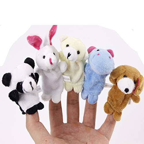 10pcs Plush Baby Fingers Plays Animal Puppet Dolls Velvet Educational Hand Cartoon Toys (Cartoon Star Dolls)