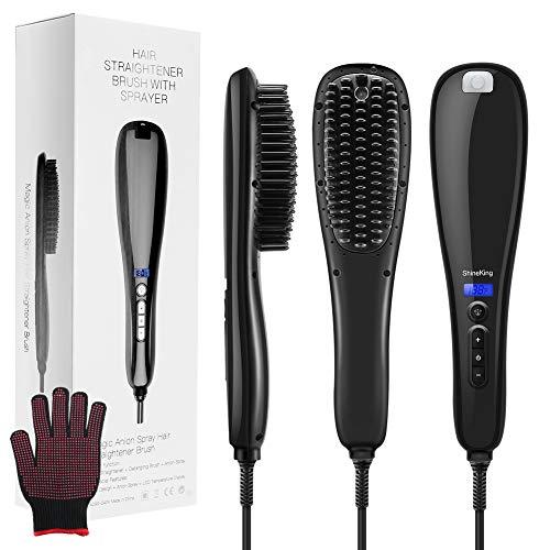 Hair Straightener Brush, 3-in-1 Ionic Hair Straightening Brush with Ceramic Faster Heating Plate, Anion Spray Straightening Brush Anti- Scald Temperature Lock Function and Travel Size