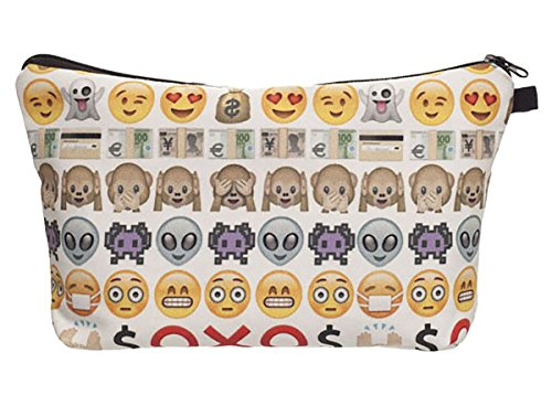 Emoji White Cosmetic Travel Zipper Bag For Kids, Teens, & Adults Perfect for Cosmetics, School, Toiletries, Or as a Clutch Bag 9 in. x 5 in. (Toiletry Bag For Women Kate Spade)