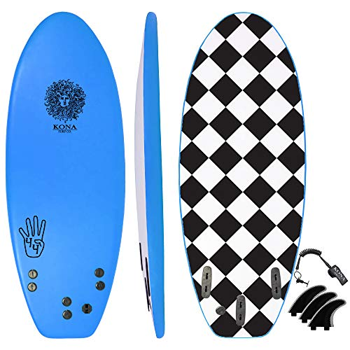 KONA SURF CO. The 4-4 Surfboard for Beginners Kids and Adults – Soft Top Foam Surfboards for Beach – Surf as a Boogie Board Bodyboard or Softboard – Includes Fins and Leash