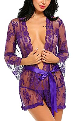 Vsecrety Women's Lace Robe Sexy Lingerie Nightgown Transparent Mesh lingerie