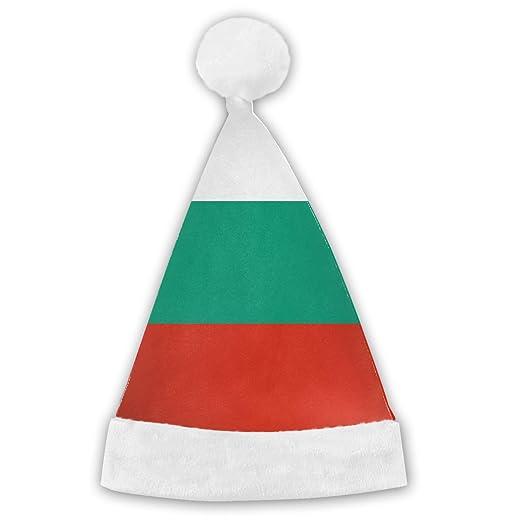 129162cf7b05e Amazon.com  Bulgarian Flag Plush Christmas Cap Santa Hat Adult Child   Clothing