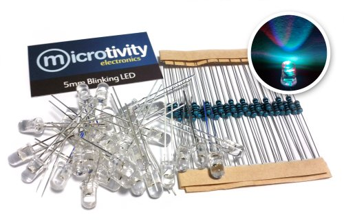 microtivity IL602 5mm RGB Fast-Blinking LED w/ Resistors (Pack of 30)