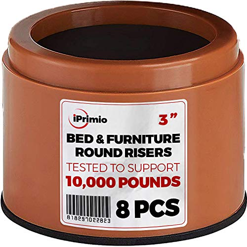 "iPrimio Bed and Furniture Risers - 8 Pack Round Elevator up to 3"" & Lifts Up to 10,000 LBs - Protect Floors and Surfaces - Durable ABS Plastic and Anti Slip Foam Grip - Non Stackable - Brown"